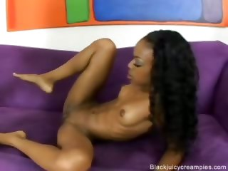 Ebony Gets Pussy Pounded Hard And Creampie