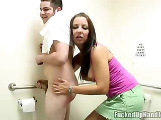 Angry Babe Giving Handjob