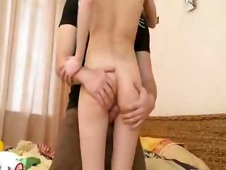 Thin Brunette Teen Gets Big Cock Drilled Hard